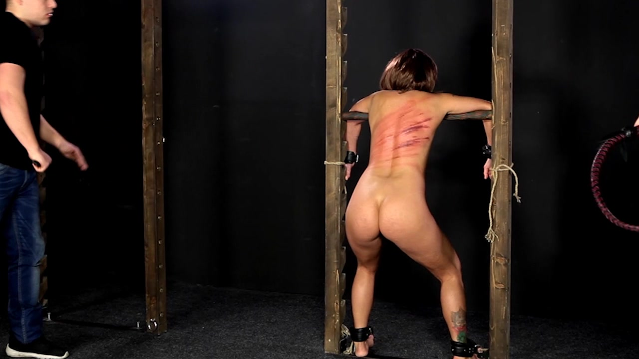 Eager Submissive Gets Whipped In Chains